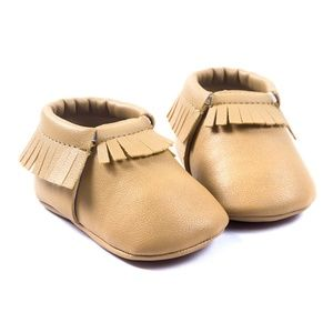Other - Beige-Baby-Moccasins-Vegan-Leather-Baby-Moccasins